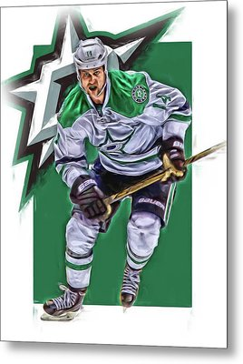 Jamie Benn Dallas Stars Oil Art Series 2 Metal Print