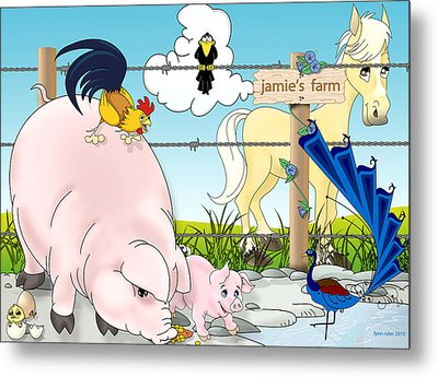 Metal Print featuring the painting Jamie's Farm by Lynn Rider