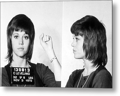 Jane Fonda Mug Shot Horizontal Metal Print by Tony Rubino