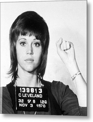 Jane Fonda Mug Shot Vertical Metal Print by Tony Rubino