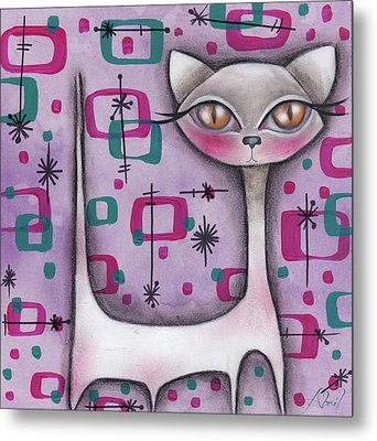 Janice Cat Metal Print by Abril Andrade Griffith