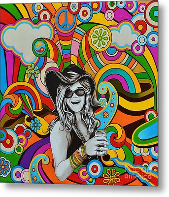 Metal Print featuring the painting Janis In Wonderland by Joseph Sonday