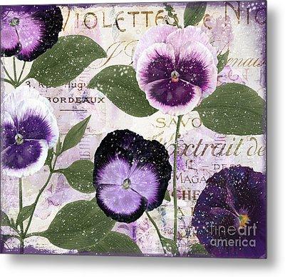 January Purple Pansies Metal Print