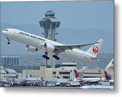 Metal Print featuring the photograph Japan Airlines Boeing 777-346er Ja737j Los Angeles International Airport May 3 2016 by Brian Lockett