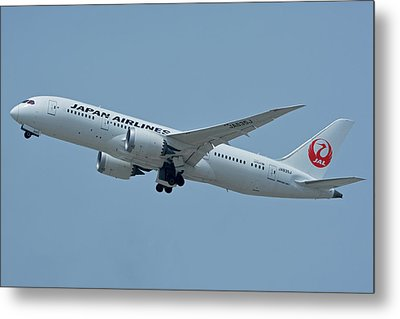 Metal Print featuring the photograph Japan Airlines Boeing 787-8 Ja835j Los Angeles International Airport May 3 2016 by Brian Lockett