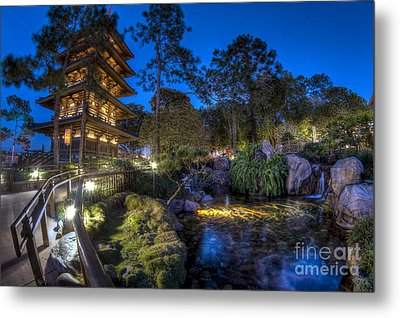 Japan Epcot Pavilion By Night. Metal Print
