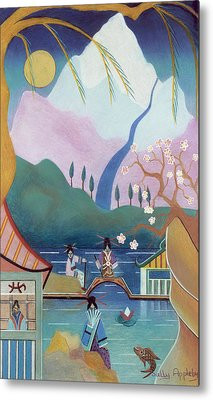 Japanese Bridge Metal Print by Sally Appleby