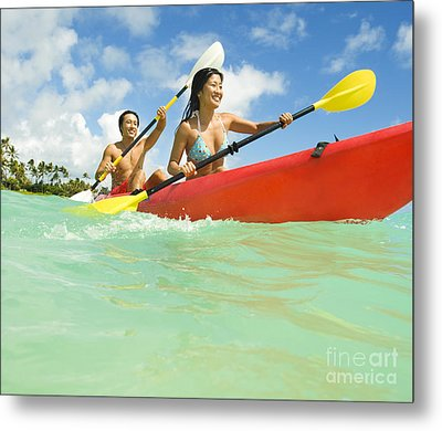 Japanese Couple Kayaking Metal Print by Dana Edmunds - Printscapes
