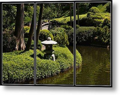 Japanese Garden Triptych Metal Print by Kathy Churchman