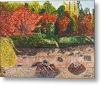 Japanese Maple Trees At The Creek Metal Print