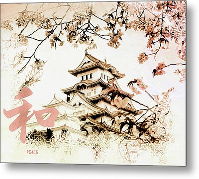 Japanese Peace House Metal Print by Elaine Manley