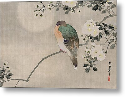 Japanese Silk Painting Of A Wood Pigeon Metal Print by Japanese School