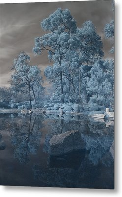 Metal Print featuring the photograph Japanese Tea Garden Infrared Center by Joshua House