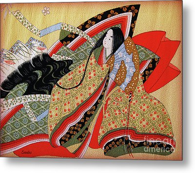 Japanese Textile Art Metal Print