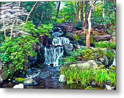 Japanese Waterfall Garden Metal Print