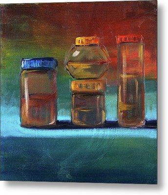 Metal Print featuring the painting Jars Still Life Painting by Nancy Merkle