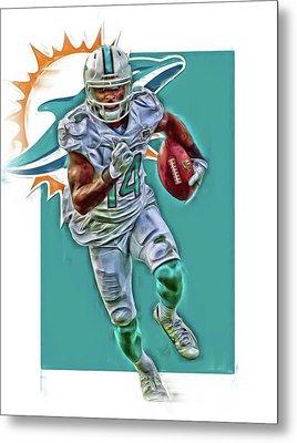 Jarvis Landry Miami Dolphins Oil Art Metal Print by Joe Hamilton