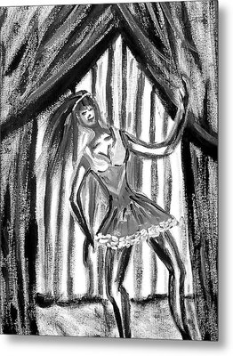 Jazz Dancer In Black  And White Metal Print by BJ Abrams