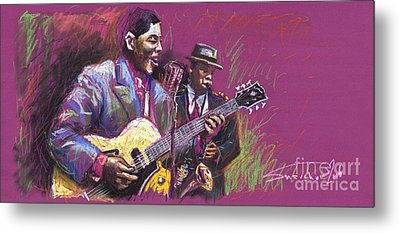 Jazz Guitarist Duet Metal Print