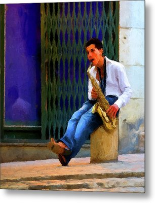 Metal Print featuring the photograph Jazz In The Street by David Dehner