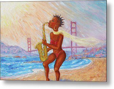 Metal Print featuring the painting Jazz San Francisco by Xueling Zou