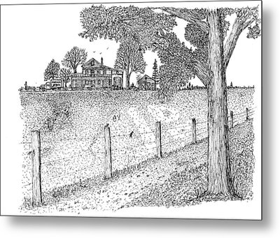 Metal Print featuring the drawing Jb Farm by Jack G  Brauer