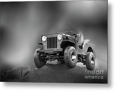 Metal Print featuring the photograph Jeep Bw by Charuhas Images