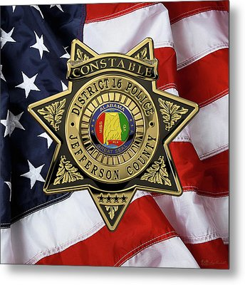 Jefferson County Sheriff's Department - Constable Badge Over American Flag Metal Print
