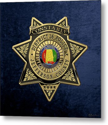 Jefferson County Sheriff's Department - Constable Badge Over Blue Velvet Metal Print