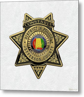 Jefferson County Sheriff's Department - Constable Badge Over White Leather Metal Print