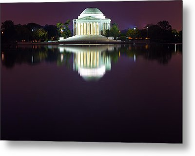 Jefferson Memorial Across The Pond At Night 4 Metal Print