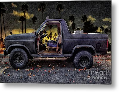 Jeff's Jeep And The Fallen Leaves Metal Print by Bob Winberry