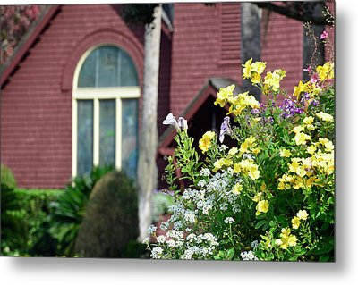 Metal Print featuring the photograph Jekyll Island Chapel And Flowers by Bruce Gourley