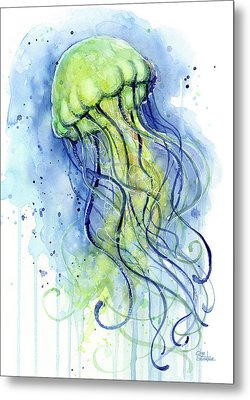 Jellyfish Watercolor Metal Print