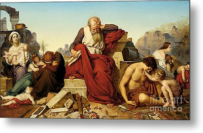 Jeremia Seated In The Ruins Of Jerusalem Metal Print by Celestial Images