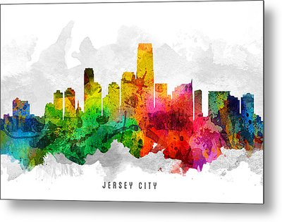 Jersey City New Jersey Cityscape 12 Metal Print by Aged Pixel