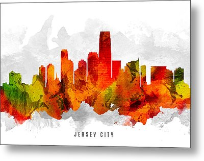 Jersey City New Jersey Cityscape 15 Metal Print by Aged Pixel