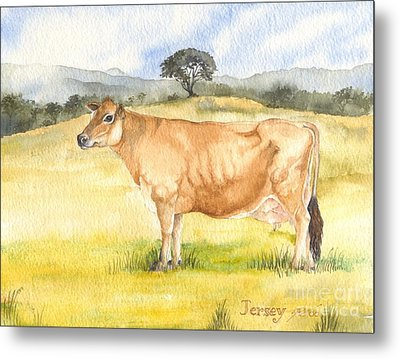 Metal Print featuring the painting Jersey Cow by Sandra Phryce-Jones