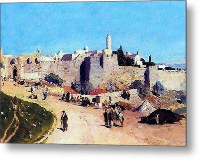 Jerusalem Citadel 1882 Metal Print by Munir Alawi