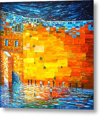 Metal Print featuring the painting Jerusalem Wailing Wall Original Acrylic Palette Knife Painting by Georgeta Blanaru
