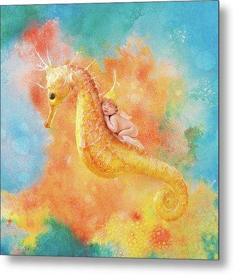 Jessabella Riding A Seahorse Metal Print