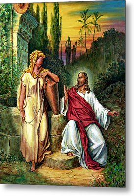 Jesus And The Woman At The Well Metal Print by John Lautermilch