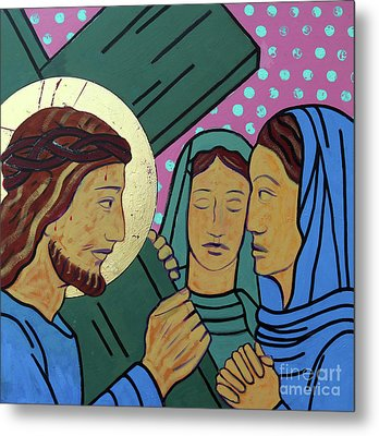 Jesus And The Women Of Jerusalem Metal Print by Sara Hayward