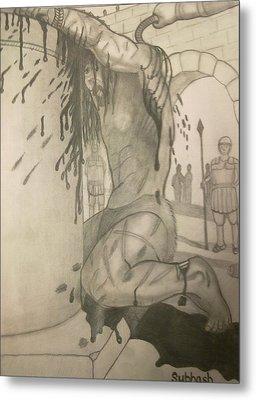 Jesus Being Beaten Metal Print by Subhash Mathew
