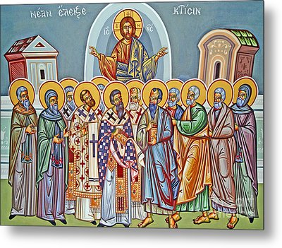 Jesus Christ And His Twelve Apostles Metal Print by Cypriot School