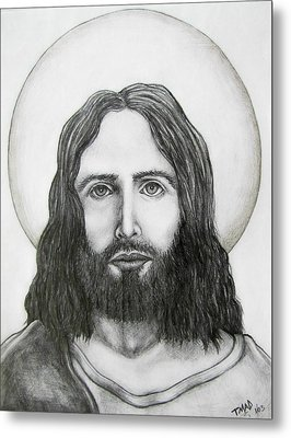 Metal Print featuring the drawing Jesus Christ by Michael  TMAD Finney