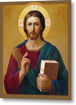Metal Print featuring the painting Jesus Christ Pantocrator by Svitozar Nenyuk