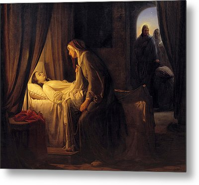 Jesus Christ Raising Daughter Of Jairus Metal Print by Carl Bloch
