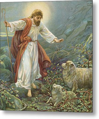 Jesus Christ The Tender Shepherd Metal Print