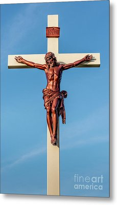 Jesus Crucifix Against The Sky 3 Metal Print by Gary Whitton